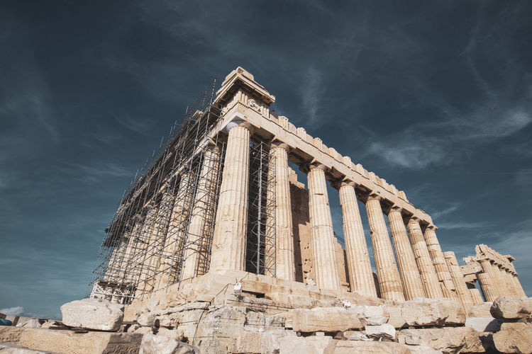 Acropolis Athens Greece Acropolis Sky Architecture Built Structure History Cloud - Sky Ancient Old Ruin Low Angle View Ancient Civilization The Past Nature Travel Place Of Worship Travel Destinations Day No People Architectural Column Building Exterior Tourism Archaeology Ruined Ancient History
