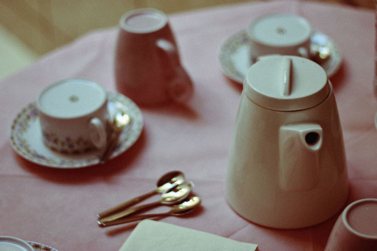 Close-up of teapot on table