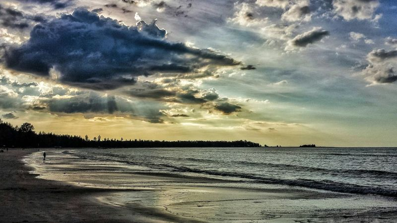 Sand Beach Southern Thailand Southeast Asia ASIA Sunset Evening Shadow Outdoors Sunshine Water Landscape Seascape Clouds Low Angle Ocean Andaman Sea Khao Lak Phang Nga Miles Away Sommergefühle