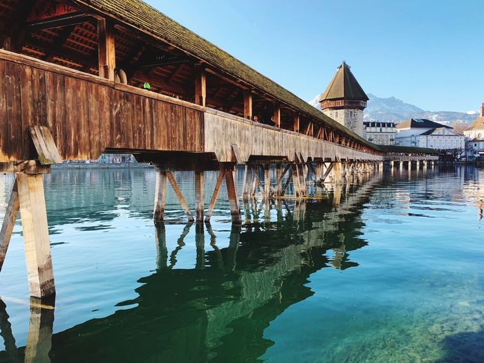 Swiss Street Photography Water Built Structure Architecture Building Exterior Sky Reflection Nature Building Day No People Waterfront House Residential District Travel Destinations Clear Sky Connection Lake Outdoors Bridge Wooden Post