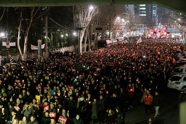 Walk to revolution 2016-2017 seoul. Candle Demonstration Crowd Large Group Of People Group Of People Night Illuminated Arts Culture And Entertainment Real People Event Performance High Angle View Lighting Equipment