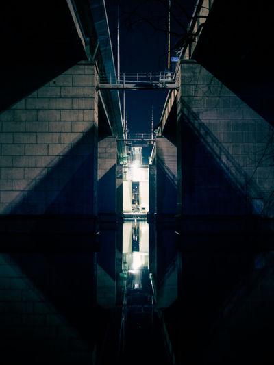 Low angle perspective of liljeholmsbron in stockholm, sweden