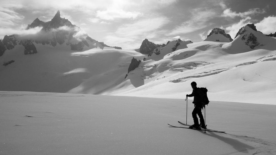 """Awesome landscape during the downhill of the """"Valle Blanche"""" at Chamonix Mont Blanc. It's a dangerous route full of ice hills Chamonix-Mont-Blanc Share Your Adventure Valle Blanche Mountains Panasonic Lx100 Black And White Snow Traveling Sports Photography Horizons Adrenaline Junkie Showcase: February Photography In Motion Black & White Sunset Silhouettes Monochrome Photography Dirator's Bests Traveling Home For The Holidays Finding New Frontiers Snow Sports Miles Away Uniqueness Done That. Go Higher #FREIHEITBERLIN The Great Outdoors - 2018 EyeEm Awards A New Beginning Capture Tomorrow"""