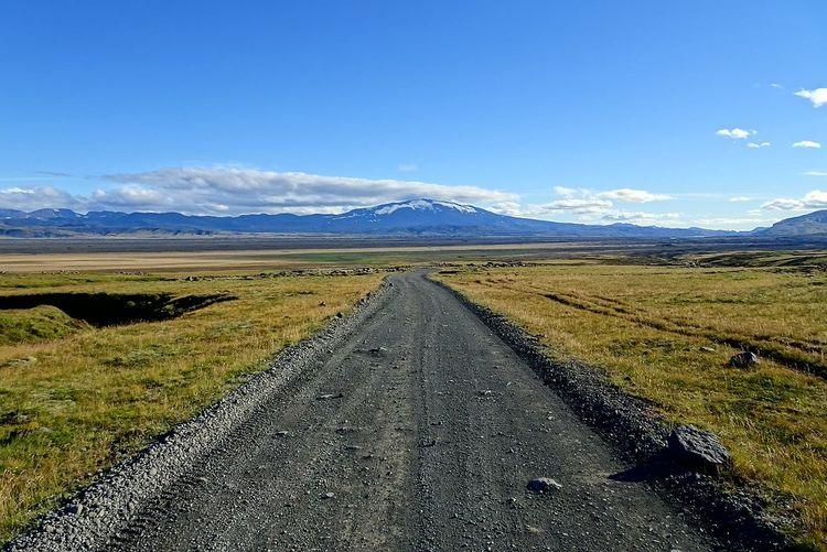 Road Landscape Blue Asphalt Highway The Way Forward Mountain Scenics Sky Outdoors Infinity No People Snow Vulcano Hekla Iceland_collection Iceland Landscape_Collection