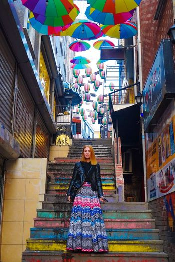 the streets of Istanbul Graffiti Istanbul Brick Redhead Streetart Umbrella Colorful
