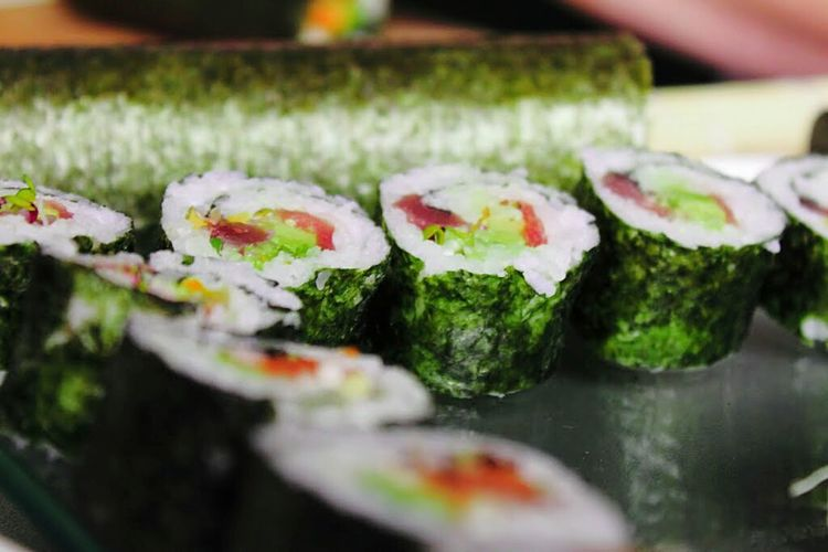 Close-up of sushi on plate