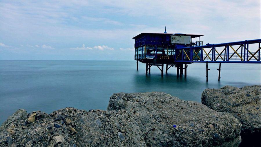 Iran Mazandaran Sea Beach Blue Wharf Landscape
