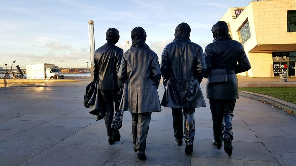 Rear View People Outdoors FabFour Fab Four Beatles Beatlesmania BeatlesFans Beatles Statues Liverpool Liverpool, England Merseyside Mersey Liverpool Waterfront Liverpool England Three Graces Statue Statues Paul Mccartney John Lennon Ringo Starr George Harrison