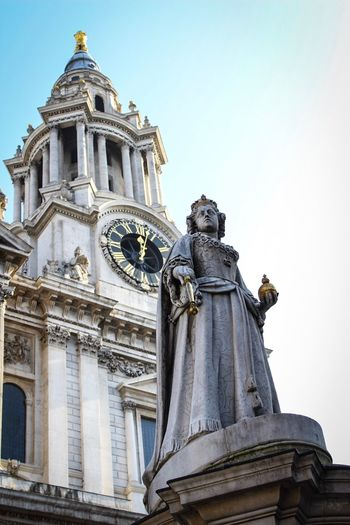 Statue Human Representation Art And Craft Sculpture Architecture Low Angle View Built Structure Travel Destinations Outdoors Building Exterior No People Female Likeness Day Sky Clear Sky City Clock City St Paul's Cathedral Everyday Streetphotography London History