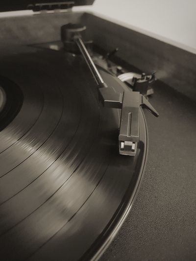 Record Arts Culture And Entertainment Black Color Record Player Needle Indoors  Sound Recording Equipment