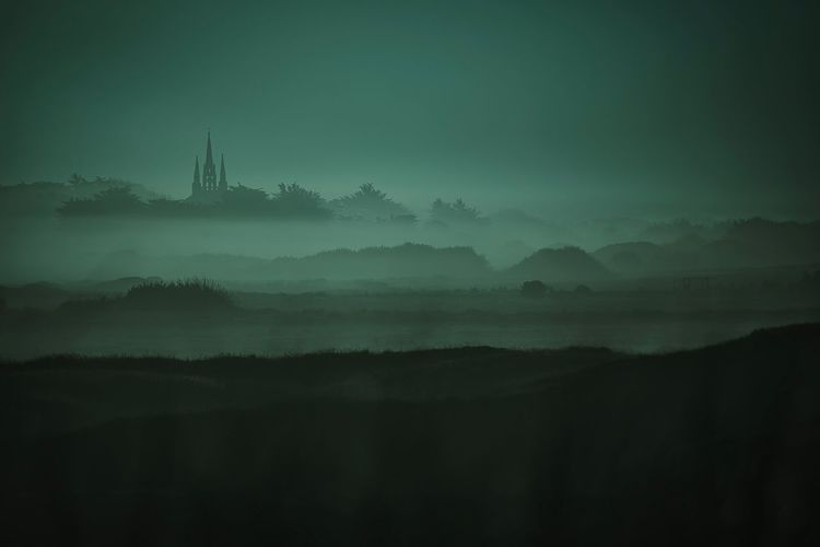La Chapelle de Tronoën by night. Fog Foggy Landscape EyeEm Best Shots Bretagne Nightphotography By Night Fog Mountain Sky Scenics - Nature Tranquil Scene Tranquility No People Beauty In Nature Environment Silhouette Landscape Religion Outdoors Night Nature