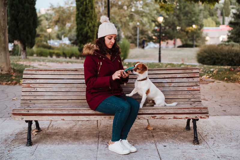 Woman with dog using phone while sitting on bench against trees