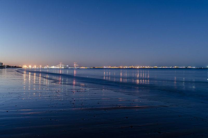Amanecer Bahia De Cádiz Beach Blue Hour Cádiz, Spain El Puerto De Santa Maria Hora Azul Playa