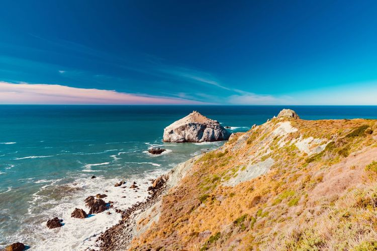 Sea Water Sky Rock Beauty In Nature Scenics - Nature Rock - Object Land Solid Beach Tranquility Tranquil Scene Horizon Over Water Blue Horizon Nature Rock Formation Idyllic Day No People Rocky Coastline Stack Rock