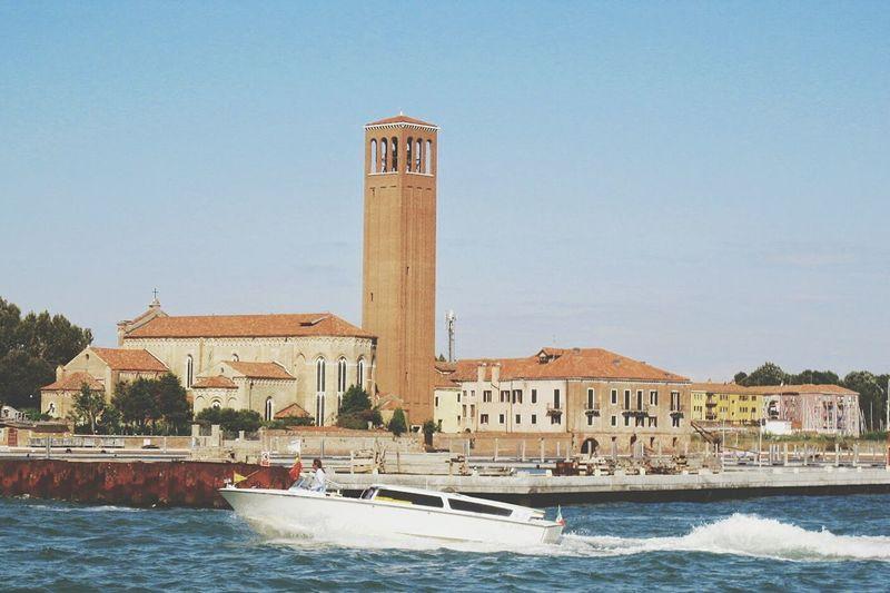 Outdoors Clear Sky No People Water Day Venice, Italy Venice Boat Harbor Sea Church Church Tower Speedboat Italy🇮🇹 Holidays Trip VSCO The Great Outdoors - 2017 EyeEm Awards The Traveler - 2018 EyeEm Awards The Architect - 2018 EyeEm Awards