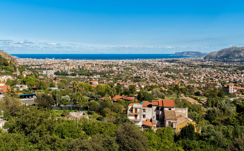 Panoramic view of Palermo city and mediterranean sea coast around from Monreale, Italy Bay Area Landscape_Collection Mediterranean  Palermo Panoramic Sicily Bay Blue Building Exterior City Cityscape Day High Angle View Horizon Horizon Over Water Landscape No People Outdoors Scenics - Nature Sea Seascape Sky Top Perspective Top View Water