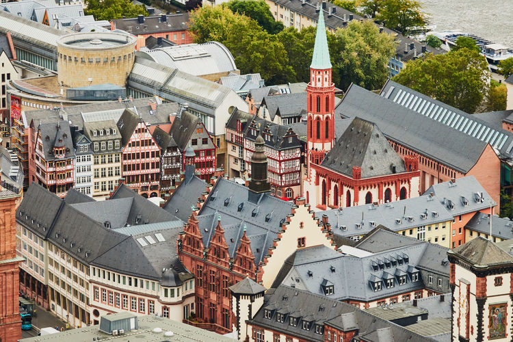 Frankfurt, germany, october 2., 2019, view from above of the restored historical roman