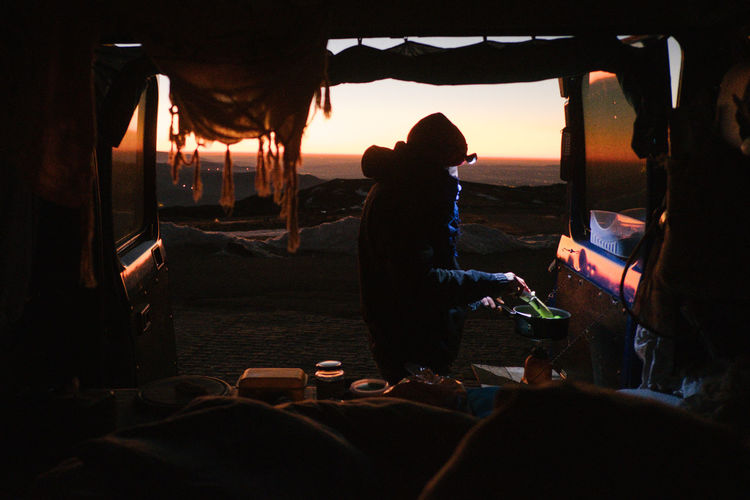 Camping Day Friendship Leisure Activity Lifestyles Mammal Manteigas Men Nature Outdoors People Real People Silhouette Sky Standing Sunset Togetherness Two People Women