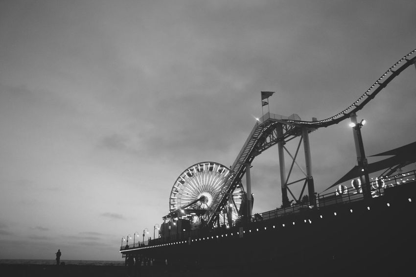 Arts Culture And Entertainment Ferris Wheel Rollercoaster Amusement Park Nightlife Night Santa Monica Pier Fun Beach Live For The Story Place Of Heart The Street Photographer - 2017 EyeEm Awards Black And White Friday