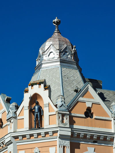 European Cities Novi Sad Serbia Eastern Europe Balkans Europe Outdoors Cityscape Building Exterior Clear Blue Sky Sky Built Structure Architecture Day Building Low Angle View Dome Sunlight No People Facades Looking Up Statues Architectural Detail Patterns