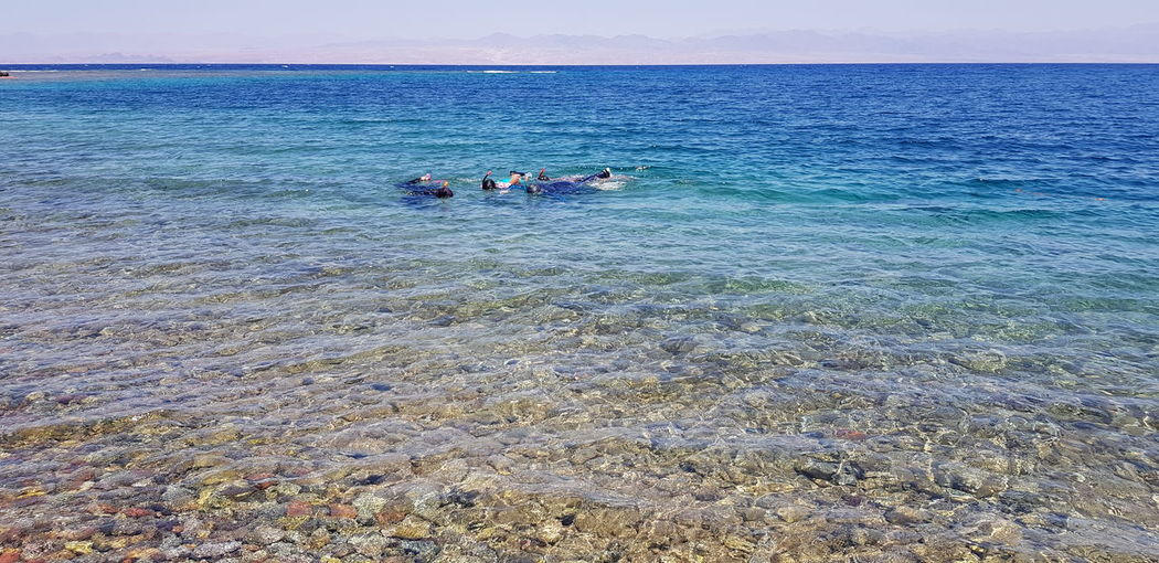 People swimming in sea against sky