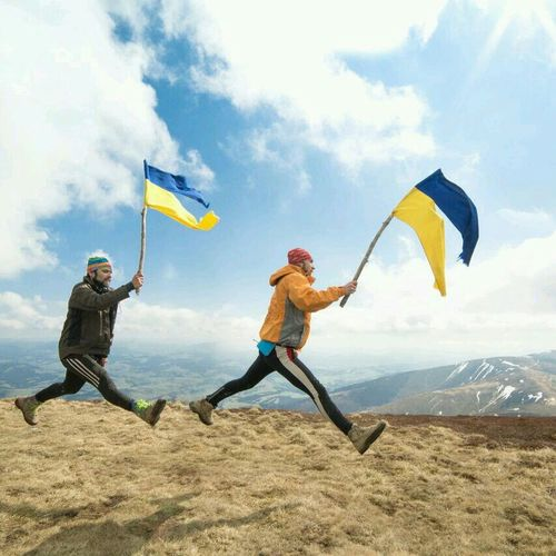 Beautiful Ukraine Mountains Two Brothers Ukrainian Flags