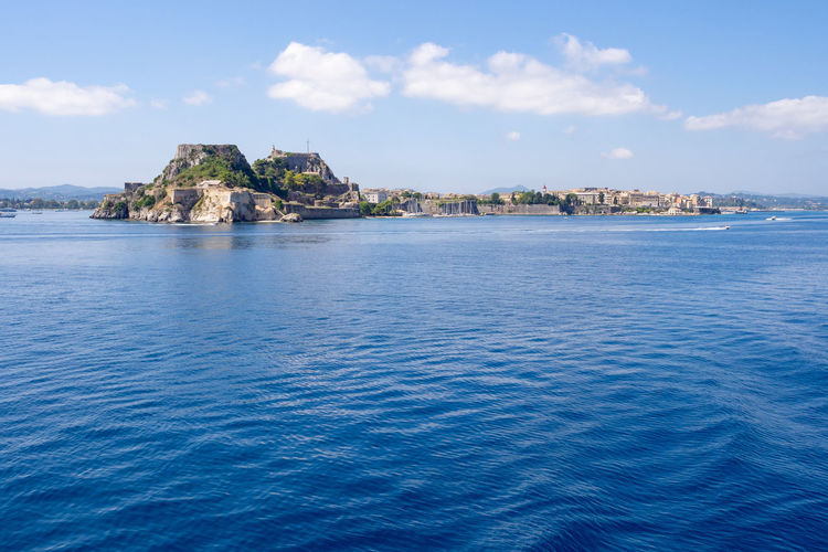 View on Kerkyra from ferry Greece Greek Islands Corfu Water Sea Blue Scenics - Nature Tranquil Scene Outdoors Kerkyra Corfu Town Ionian Sea Ionian Islands Sky Ferry Cruise