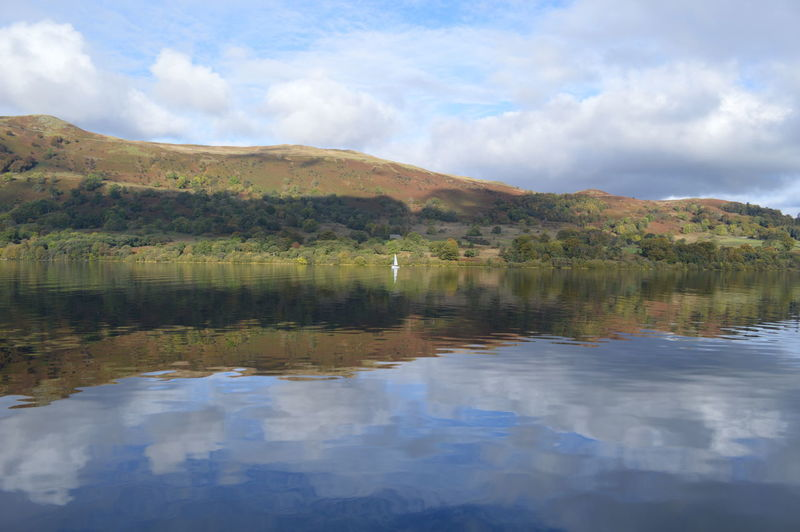 Beauty In Nature Cloud Cloud - Sky Cloudy Cumbria Day English Countryside Idyllic Lake Lakescape Landscape Mountain Mountain Range Nature No People Outdoors Reflections Remote Sky Tranquil Scene Tranquility Ullswater Water Sailing Boat Natural Beauty