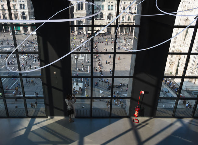 Visitor Window View View From Above Museo Del Novecento Architectural Column Architecture Building Building Exterior Built Structure City Day Glass - Material Metal Nature No People Outdoors Protection Railing Safety Security Shadow Sunlight Transparent Window