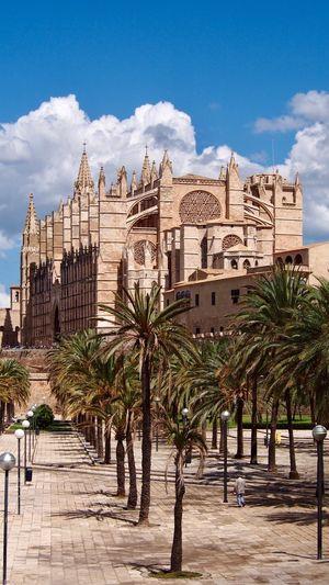 Wanderlust auf Mallorca Parc De La Mar La Seu Mallorca Palma De Mallorca Church Cathedral Architecture Built Structure Building Exterior Sky Cloud - Sky Building Tree