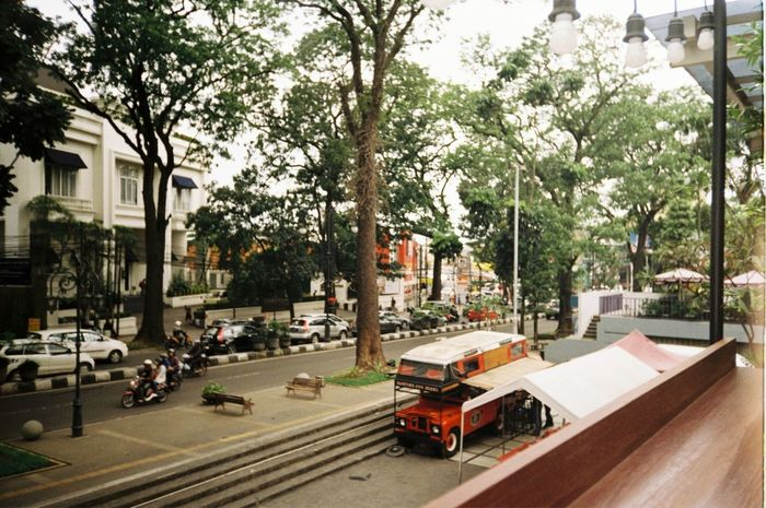 Tree Street Land Vehicle Outdoors Transportation Day City Built Structure Building Exterior Architecture No People 35mm 35mm Film Analogue Photography Analog Ricoh Bandungcity Filmisnotdead Buyfilmnotmegapixels Film Photography