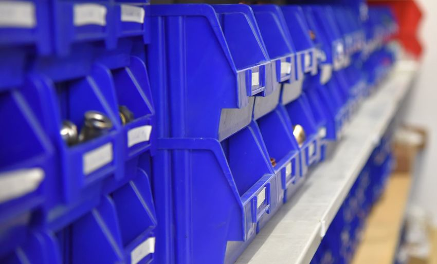 Blue Color Fionet Fischer Wilfried Fischer Blue Close-up Day In A Row Indoors  Large Group Of Objects No People Selective Focus Stadium Storage Storage Room