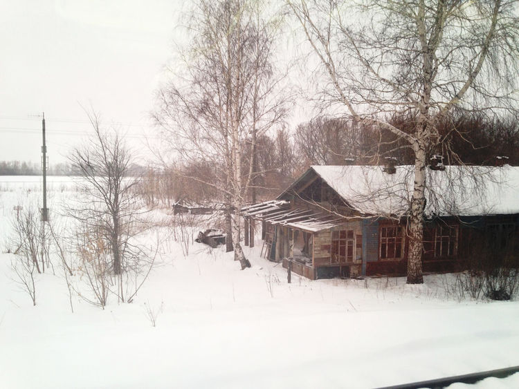 Abandoned Alone Forest House Railroad Snow