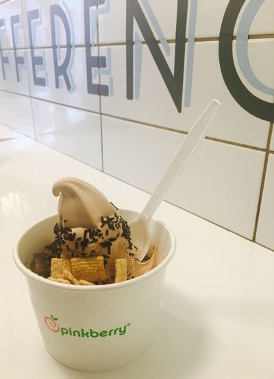 Bowl Text Food And Drink Communication Indoors  No People Food Close-up Freshness Day Ready-to-eat Food And Drink Ice Cream Pinkberry Frozenyogurt Chocolate Hazelnut
