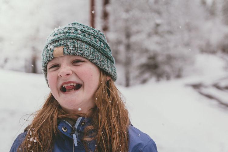 Portrait of girl in snow