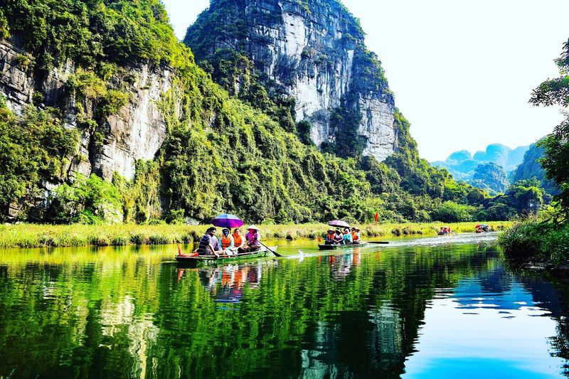 Tràng An Water Nature Beauty In Nature Tree Sky Trang An River Landscape Green Color Blue Water