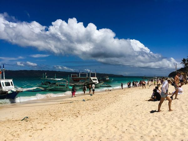 Island hopping in Puka Beach Boracay Island, Philippines Puka Beach Puka Beach Boracay Beach Sand Sea Sky Shore Cloud - Sky Nature Real People Large Group Of People Nautical Vessel Horizon Over Water