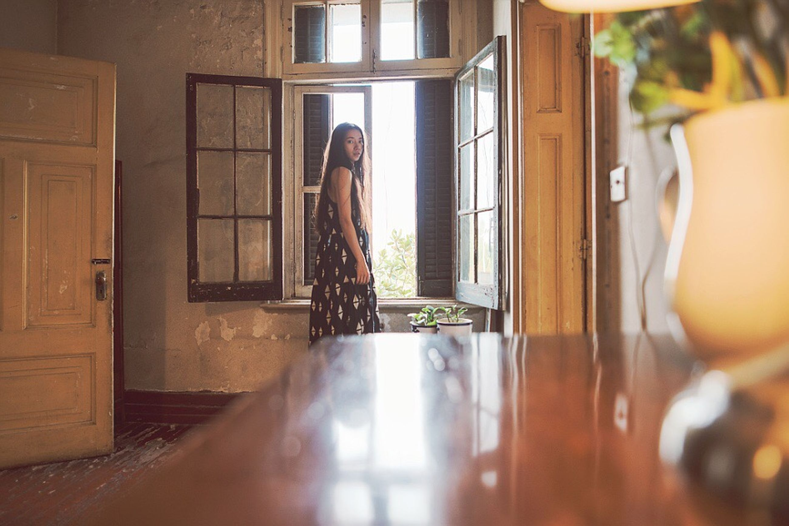 standing, window, indoors, door, open, house, rear view, full length, domestic life, day, person, casual clothing, contemplation, window frame