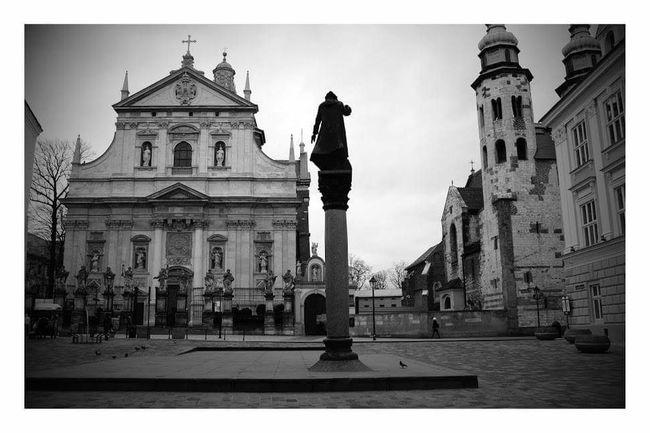 Architecture Travel City Statue Kraków, Poland Church Black And White