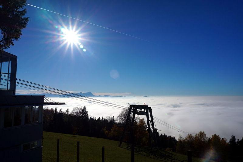 Austria Above Fog Alps Beauty In Nature Bregenz Day Goal Post Mountain Nature No People Outdoors Pfänder Sky Sport Sun Sunlight Tree