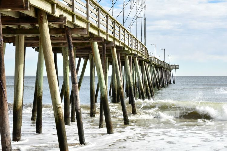 Sea Water Sky Motion Built Structure Beach No People Pier Power In Nature Virginia Beach Leading Lines Wave Day