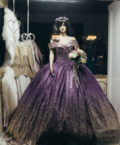 Berlin Neukölln Trash Wedding Berliner Ansichten Celebration Clothing Costume Dress Fashion Female Likeness Hairstyle Mannequin People Puppet Purple Retail  Stuff Urban Wedding Dress Window Window View Women