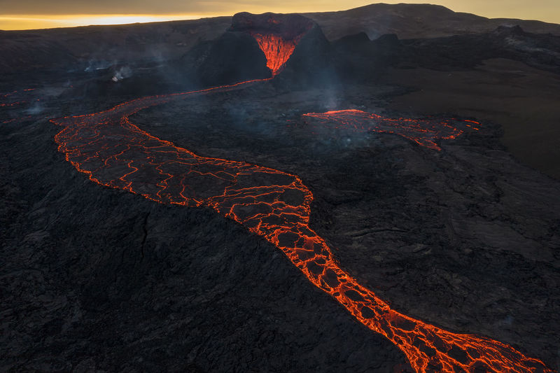 Aerial view of illuminated mountain