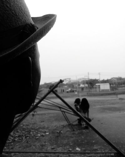 Tomorrow in view. One Person Close-up Outdoors Day Sky One Man Only Adults Only People Staring At The Sky Blackandwhite Black & White Blackandwhite Photography Black And White Black And White Photography Black&white Shadows & Lights African Hat Silhouette Silouette & Sky