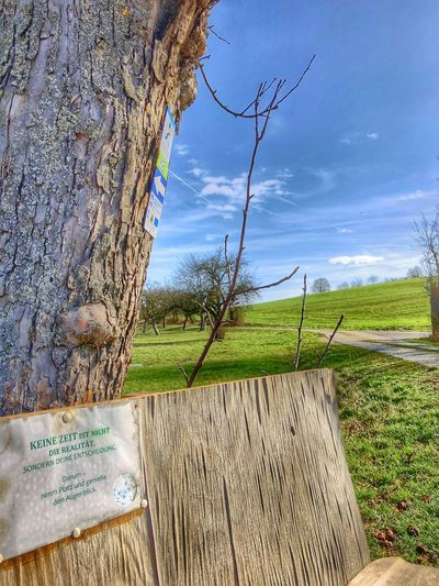 Wooden post on field by tree against sky