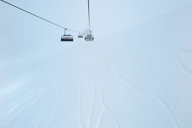 Overhead Cable Car Against Sky During Winter
