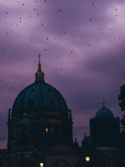 Berlin Animal Architecture Belief Berliner Ansichten Bird Building Building Exterior Built Structure Cloud - Sky Dome Flock Of Birds Flying Nature No People Place Of Worship Religion Sky Spire  Spirituality
