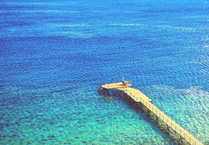 Blue Water Textured  Built Structure Architecture No People Day Outdoors Close-up Sky Sea Red Sea Sinai Beauty In Nature Sunlight Clear Sky