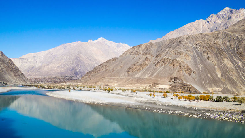 Blue Water Landscape Sand Day Travel Destinations Travel Blue Sky Impression Along The Way River View River Riverside Nature Mountain Reflection Shadow And Light Skardu Pakistan