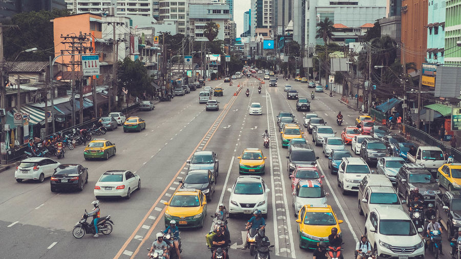 Bangkok traffic 🚖 Thailand Architecture Building Exterior Built Structure Car City City Life City Street Day High Angle View Land Vehicle Mode Of Transportation Motion Motor Vehicle Outdoors Road Street Traffic Transportation EyeEmNewHere